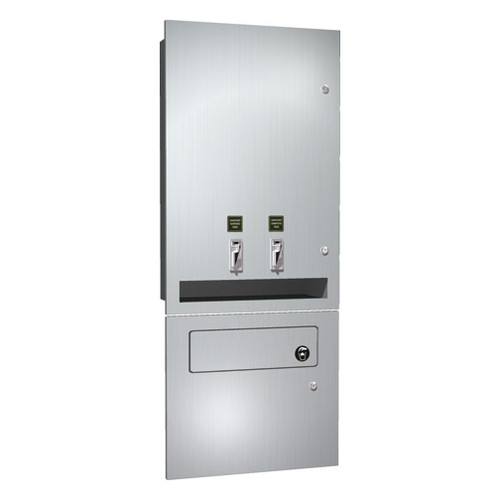 ASI (10-04684-TM-25) Napkin/Tampon Vendor & Disposal - 25C Operation - Recessed