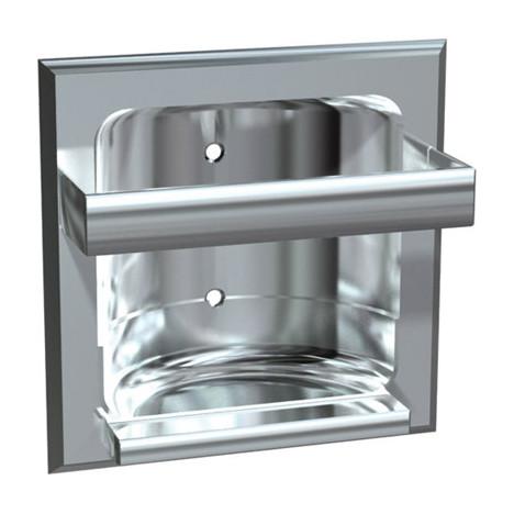 ASI (10-0410-Z) Soap Dish w/Round Bar - Recessed, Chrome Plated Zamak, Wet Wall Installation
