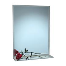 "ASI (10-0625-1630) Mirror - Stainless Steel, Chan-Lok Frame w/ Shelf - Plate Glass - 16""W X 30""H"