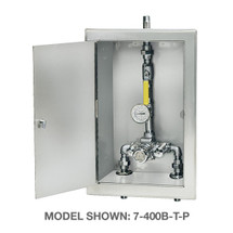 Symmons (7-700BW) TempControl Thermostatic Mixing Valve and Piping Assembly in Cabinet with Cold Water By-pass