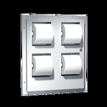 ASI (10-048234) Toilet Tissue Dispenser & Sanitary Napkin Disposal - Multi-Roll, holds 4 standard rolls - Recessed