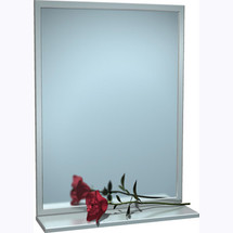 "ASI (10-0605-1630) Mirror - Stainless Steel, Inter-Lok Angle Frame w/ Shelf - Plate Glass - 16""W X 30""H"