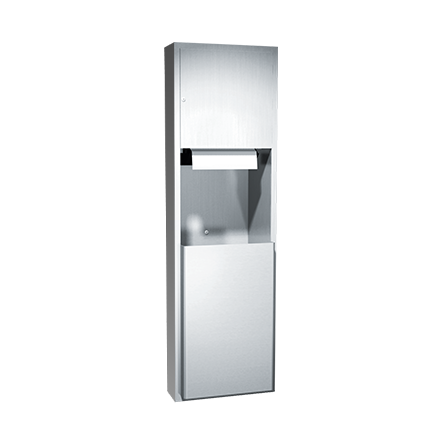 ASI (10-04692A-6) Semi-Recessed Automatic Roll Paper Towel Dispenser and Waste Receptacle
