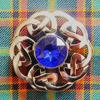 Plaid Brooch with Blue Stone