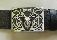Stags Head Buckle with Grained Kilt Belt