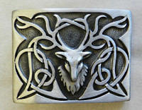 Stags Head Matte Pewter Kilt Belt Buckle