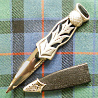 Matte Silver Sgian Dubh with Black Stone