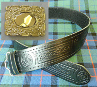 Gold Buckled Celtic Kilt Belt