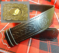 Gold Buckle w/ Fire Department Kilt Belt