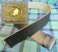 Gold Thistle Buckle w/ Pipers Kilt Belt