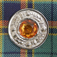 Thistle Motif with Topaz Brooch
