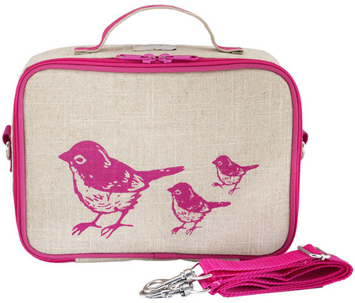 So Young Raw Linen Lunch Box - Birds