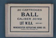 20 Cartridges Ball Caliber .30 M2 Lot WRA 23140 Front