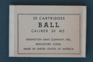20 Cartridges Ball Caliber 30 M2 Remington Arms Company, Inc