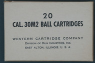 20 Cal. 30M2 Ball Cartridges  Western Cartridge Company Box Front