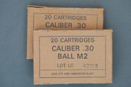 Two Boxes of 20 Cartridges Caliber .30 Ball M2 Lot LC 42250