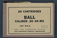 20 Cartridges Ball Caliber .30 AN-M2 Lot WCC 6893