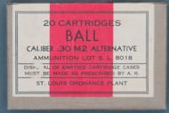 20 Cartridges Ball Caliber .30 M2 Alternative Lot S.L. 8018