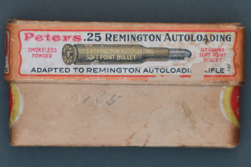 Peters .25 Rem. Autoloading Smokeless C.F. Cartridges Front