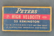 Peters High Velocity 25 Remington 117 Grain Inner Belted Soft Point Bullet Cartridges Top