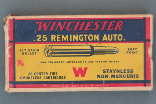 Winchester .25 Remington Auto. Ammunition Top Side
