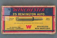 Winchester 25 Remington Auto. Ammunition Top Side