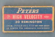 Peters High Velocity 30 Remington Smokeless Cartridges Front