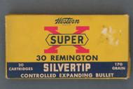 Western Super-X 30 Remington Silvertip Cartridges Front