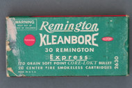 Remington Kleanbore 30 Remington Express 170 Grain Soft Point Core-Lokt Cartridges Front