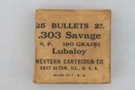 Western Cartridge Co. 303 Savage S. P. Bullets Lid