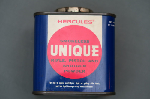 Vintage Hercules Smokeless Unique Rifle, Pistol and Shotgun Powder Can Side 1