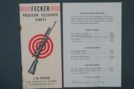 Fecker Precision Telescopic Sights 1946 Catalog Cover & Price List