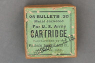 Hudson Bullets Stamped Winchester .30 U.S. Army Cartridge Bullet Box