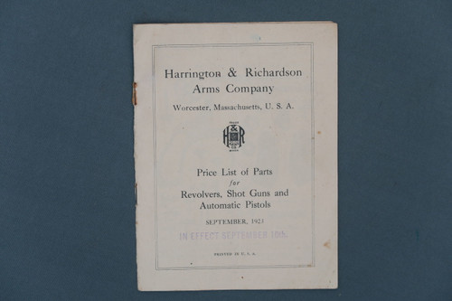 Harrington & Richardson Arms Co.  Price List of Parts Dated September 1923 Page 1