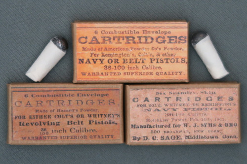 36 Caliber Combustible Paper Revolver Cartridges in Packets