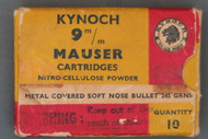 Kynoch 9MM Mauser Cartridges Top Label