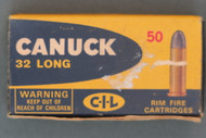 Canuck 32 Long Rimfire Shooter Ammo With Lead Bullets Box Top