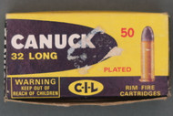 Canuck 32 Long Rimfire Shooter Ammo Loaded With Plated Bullets Box Top