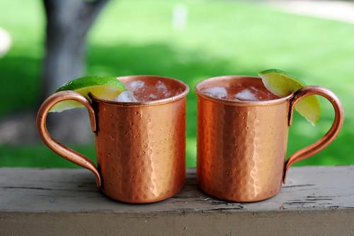 14 oz Pure Copper Hammered Mugs Set of 2