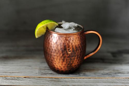 16 oz Antique Hammered Barrel Shape Copper Mug