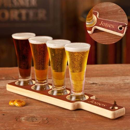 Beer Tasting Set With Wood Serving Tray And 4 Mini