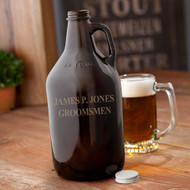 64oz Amber Growler tin twist off cap personalized