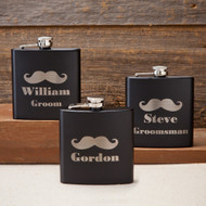 Personalized Mustache Matte Flask 6 oz