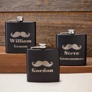 Personalized Mustache Matte Flask 6 oz