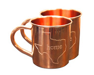 Texas State Home Copper Mug - Set of 2 14 oz Copper Mugs