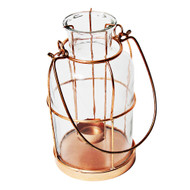 Copper and Glass Tea Light Votive Candle Holder Lantern