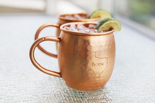 Texas Hammered Copper Barrel Mugs (set of 2)