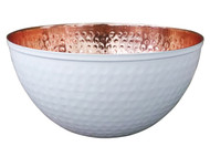 Copper & White Hammered Bowl (11.5 in diameter)