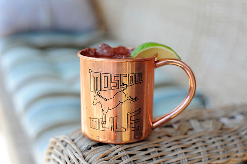 Copper Moscow Mule Mug with Retro Logo