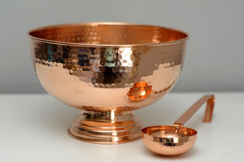 Pure Copper Hammered Punch Bowl